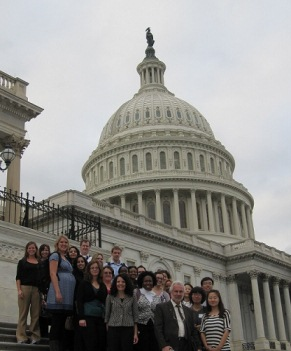 Dr. Pamela Eddy with her EPPL 601 class and visiting scholars in Washington, D.C.