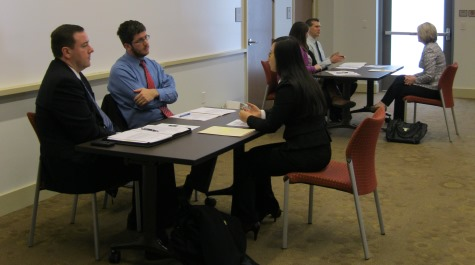 Higher education students participate in mock interviews with alumni of the higher program