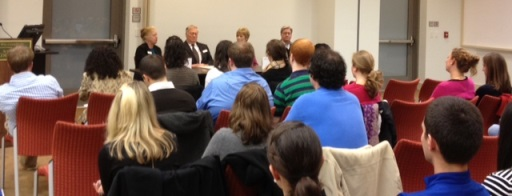 "The attendees at the panel discussion ""What is it like to Work at a Community College?"""