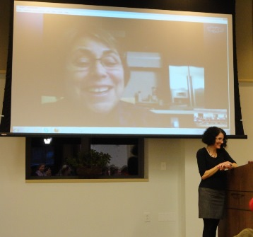 Dr. Martha Kanter speaks to Professor Pamela Eddy's class via Skype at the school of Education