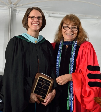 Sondra C. VanderPloeg receives the Nancy Beyer Opler '56 Award for Excellence in Advising from Academic Vice President and Dean of Faculty Deborah A. Taylor
