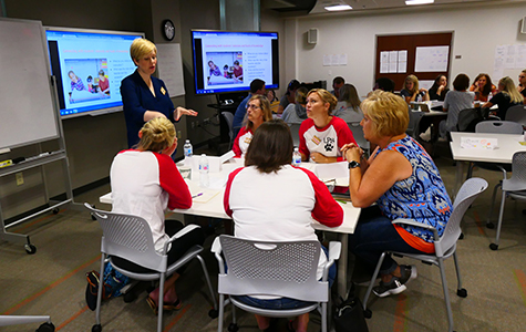 Lindy Johnson, co-director of the Center for Innovation in Learning Design, works with Lancaster teachers during the 2018 Summer Academy.